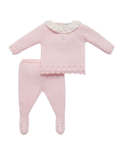 Ruffle-Collar Sweater w/ Footed Leggings, Size 1-12 Months