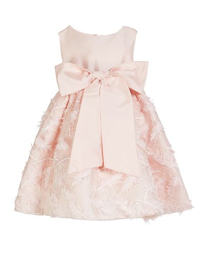 Matte Sateen Bow Dress w/ Feather Embroidered Skirt, Size 12M-4T