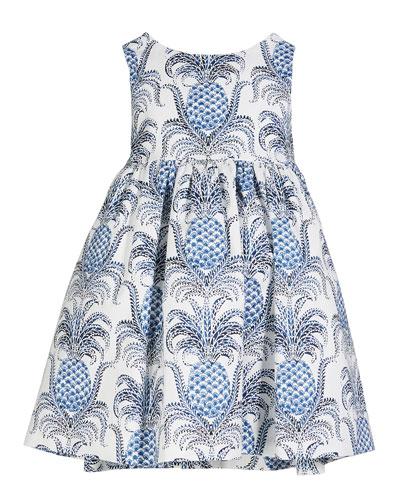 Pineapple Print Sleeveless Dress, Size 12M-4T