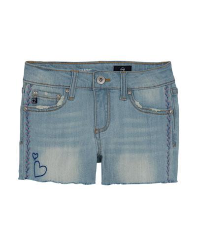 Girls' Garden Distressed Denim Shorts w/ Embroidery, Size 7-14