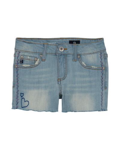 Girls' Garden Distressed Denim Shorts w/ Embroidery, Size 4-6X