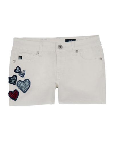 Girls' Lyla Shorts w/ Heart Patches, Size 7-14
