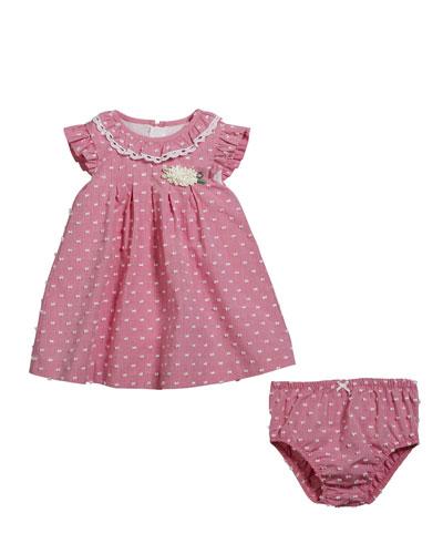 Swiss Dot Ruffle-Trim Dress w/ Matching Bloomers, Size 2-12 Months