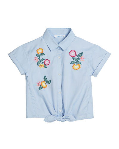 Oxford Embroidered Flower Shirt, Size 8-16