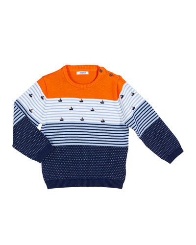 Colorblock Sailboat Embroidery Sweater, Size 12-36 Months