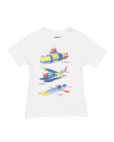 Submarine Plane & Kayak Graphic Tee, Size 12-36 Months
