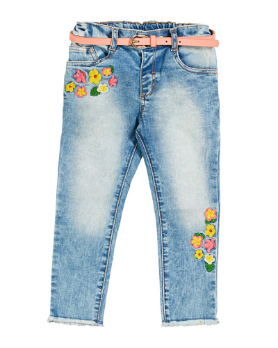 Flower Embroidered Faded Denim Jeans, Size 12-36 Months