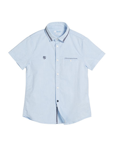 Detailed Short-Sleeve Collared Shirt, Size 4-7