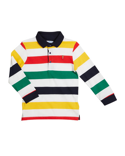 Multi-Stripe Long-Sleeve Polo Shirt, Size 4-7