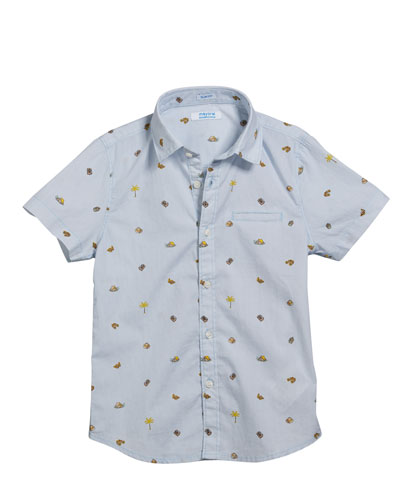 Camping Icons Collared Short-Sleeve Shirt, Size 4-7