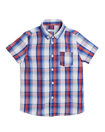 Short-Sleeve Plaid Shirt, Size 4-7