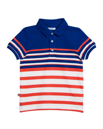 Multi-Stripe Short-Sleeve Polo Shirt, Size 4-7