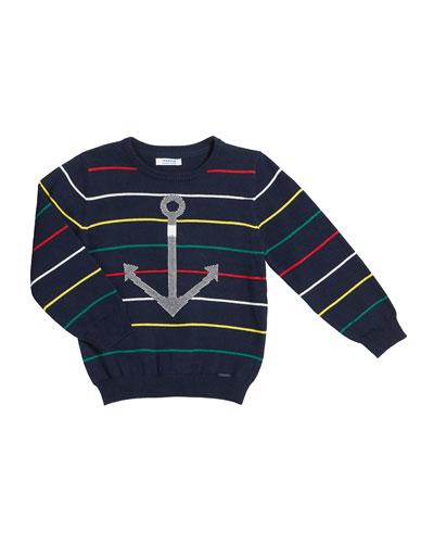 Stripe Cotton Sweater w/ Anchor Intarsia, Size 4-7