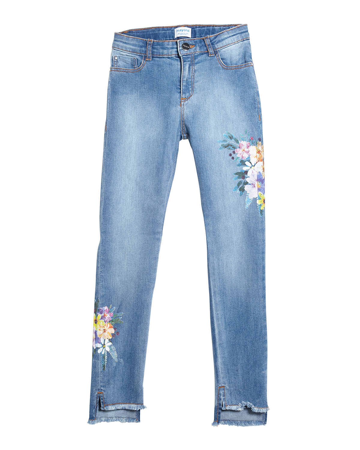 Mayoral FLORAL EMBROIDERED RAW-EDGE DENIM JEANS
