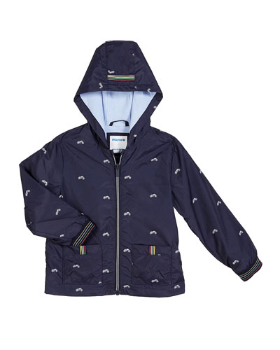 Tiny Motorcycle Print Wind Breaker Jacket, Size 12-36 Months