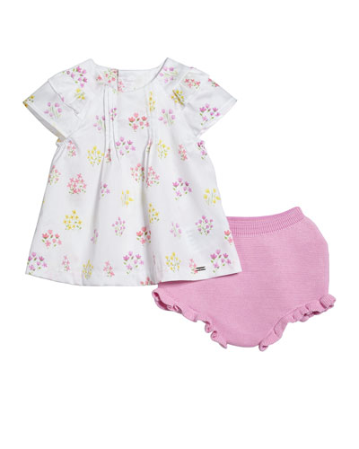 Floral Pintucked Blouse w/ Knit Bloomers, Size 2-12 Months
