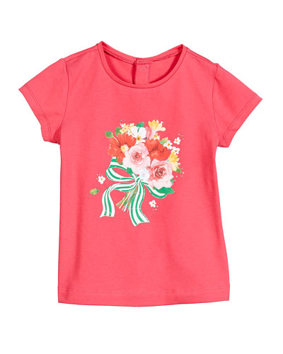 Floral Bouquet Print Short-Sleeve Tee, Size 12-36 Months