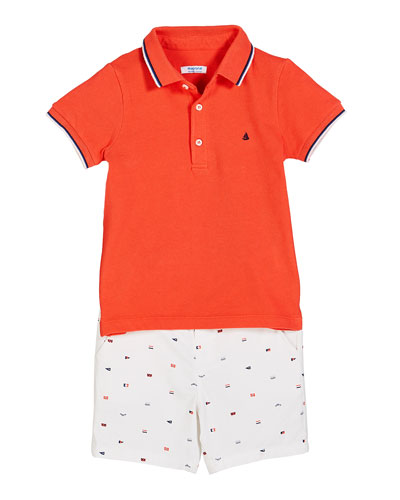 Knit Pique Polo Shirt w/ Flag Print Shorts, Size 12-36 Months