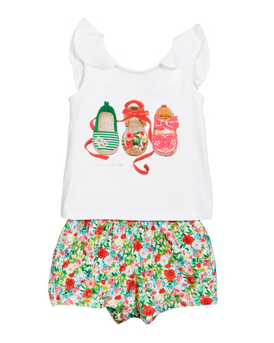 Espadrille Print Tee w/ Floral Shorts, Size 12-36 Months