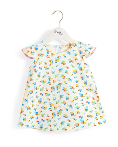 Multicolored Brushstroke Print Dress w/ Frill Shoulders, Size 6-24 Months