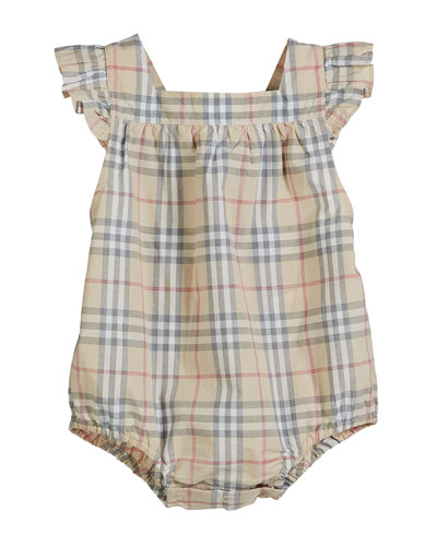 Washed Check Ruffle-Trim Bubble Romper, Size 3-18 Months