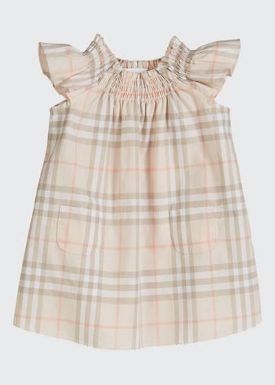 Vinya Washed Check Flutter-Sleeve Dress, Size 6M-2