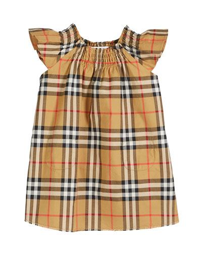 Vinya Check Flutter-Sleeve Dress, Size 6M-2