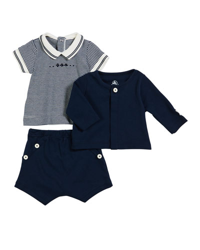 Short-Sleeve Striped Tee w/ Solid Cardigan & Shorts, Size 1-18 Months