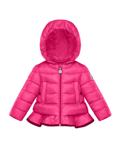 Quilted Ruffle-Hem Hooded Coat, Size 12M-3