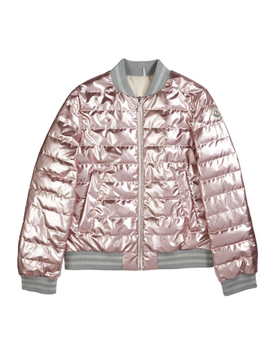 Metallic Quilted Bomber Jacket, Size 4-6