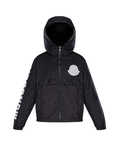 715161a5 Moncler Logo Patch Jacket. Hooded Nylon Jacket w/ Logo Sleeve, Size 4-6