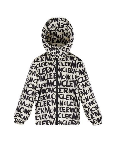 Logo Printed Nylon Hooded Jacket, Size 4-6
