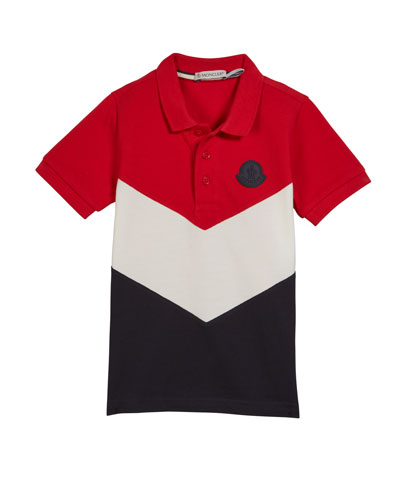 Tricolor Short-Sleeve Polo Shirt, Size 4-6
