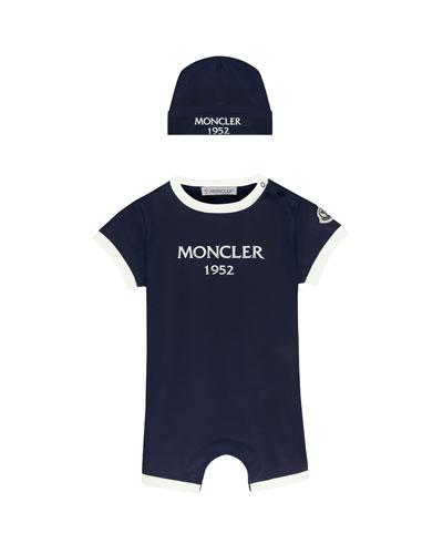Moncler Two-Tone Logo Shortall w/ Matching Beanie, Size