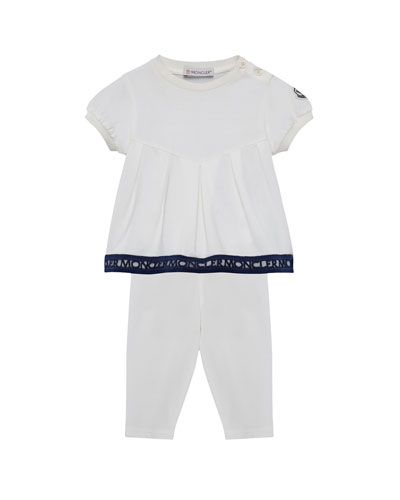 Logo Embroidered Pleat Top w/ Matching Leggings, Size 12M-3