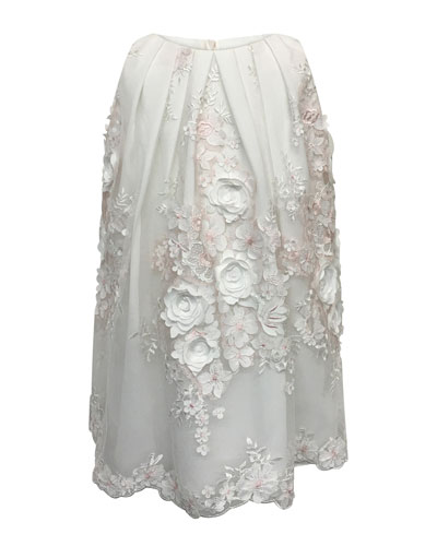 3D Flower Lace Embroidered Dress, Size 7-14