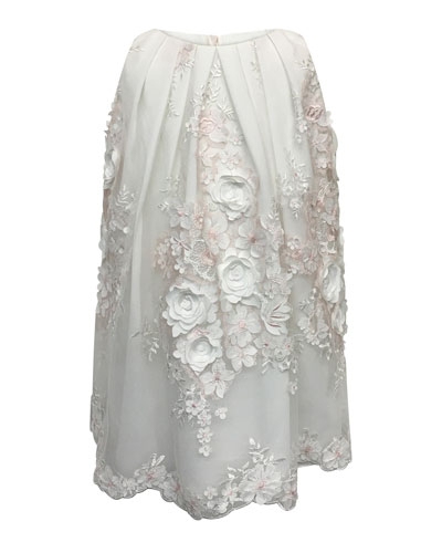 3D Flower Lace Embroidered Dress, Size 2-6