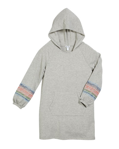 French Terry Hooded Sweatshirt Dress, Size 7-14