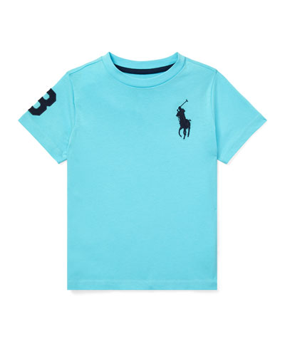 Jersey Cotton T-Shirt w/ Number Patch Sleeve, Size 5-7