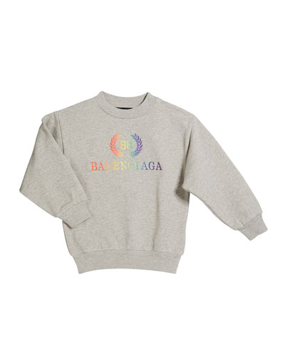 Rainbow Logo Crest Sweatshirt, Size 2-10