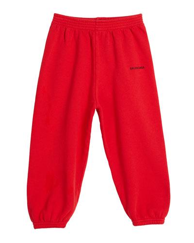 Cotton Logo Jogging Pants, Size 2-10