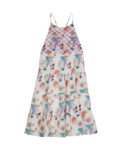 Lara Tiered Floral Sun Dress, Size 8-12