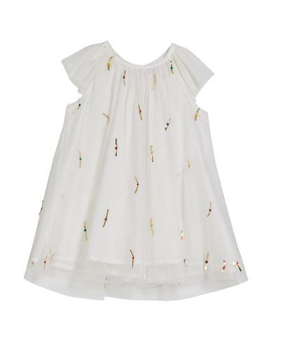 Harper Metallic Ribbon Tulle Party Dress, Size 3-24 Months