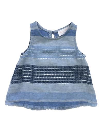 Frayed Hem Textured Stripe Tank Top, Size 8-14