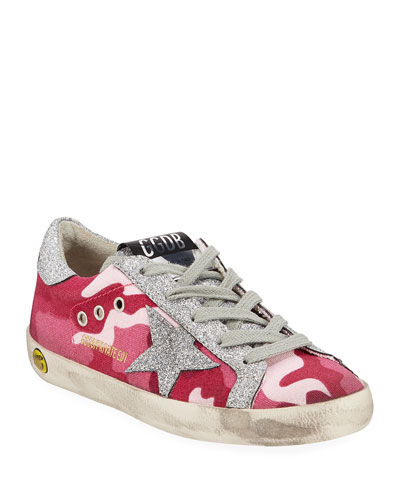 Girls' Superstar Glittered Camo Low-Top Sneakers, Toddler/Kids