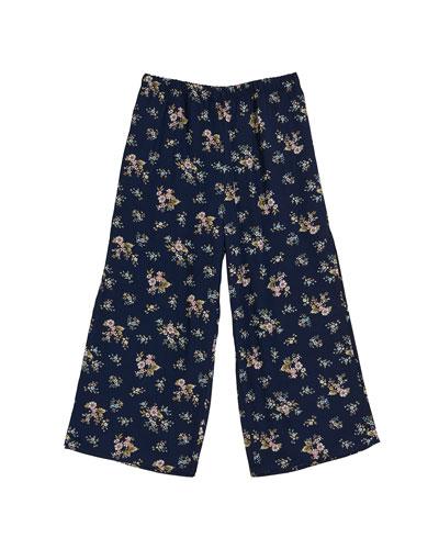 Floral Wide Leg Pants, Size 7-16