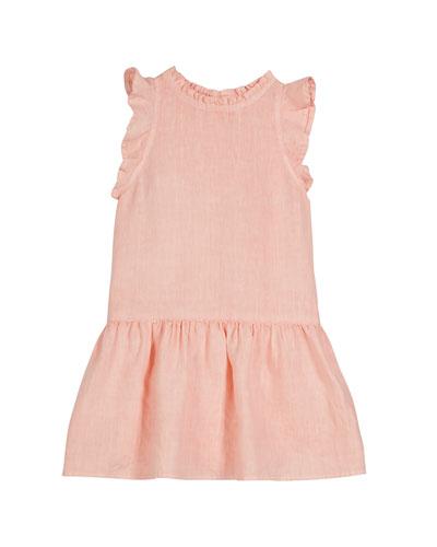 Ruffle Linen Dress, Size 8-14