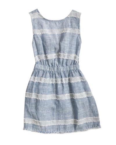 Tie Back Frayed Picnic Dress, Size 8-14