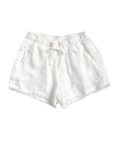 Linen Frayed Hem Shorts, Size 8-14