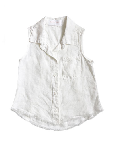 Frayed Hem Sleeveless Collared Shirt, Size 8-14